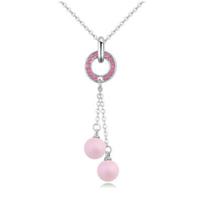 Balls and ring  -rózsaszín- Swarovski kristályos nyaklánc
