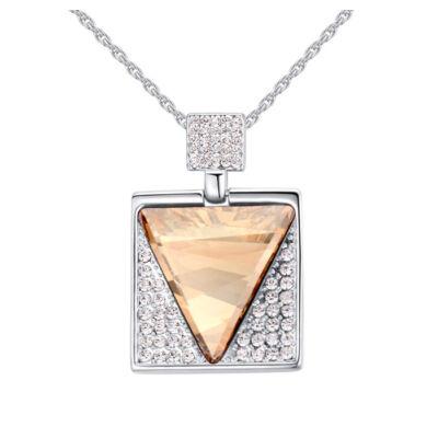 Csoda háromszög- borostyán- Swarovski kristályos nyaklánc