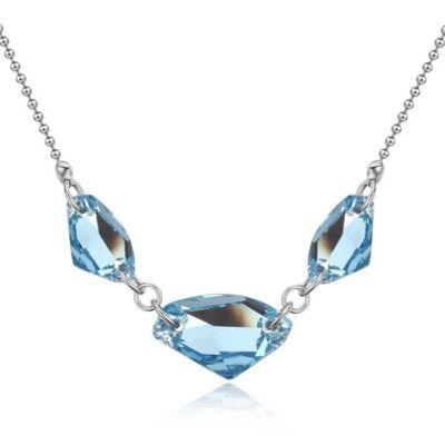 Csoda hármas- kék- Swarovski kristályos nyaklánc