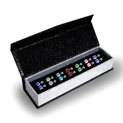 7 nap, 7 ékszer - ékszerdobozos Swarovski kristályos fülbevaló kollekció - lógós fülbevalókkal