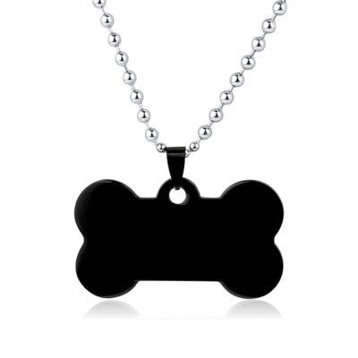 Csont alakú nemesacél medál kutyáknak - fekete