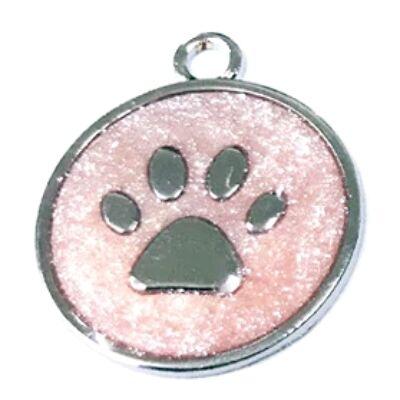 Mancs mintájú, színes, garvírozható nemesacél medál kutyáknak - rózsaszín