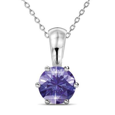 Február -Birth Stone Swarovski kristályos nyaklánc - Amethyst