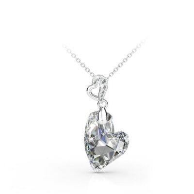 MACARON - Swarovski kristályos szív alakú nyaklánc díszdobozban - fehér