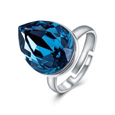 Ragyogó csepp - állítható méretű Swarovski kristályos gyűrű - Dark Sapphire