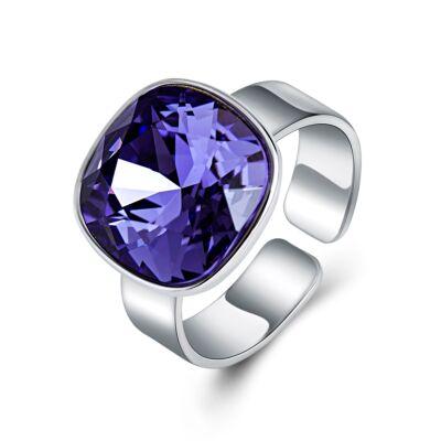 Ékkő - állítható méretű Swarovski kristályos gyűrű - Purple velvet