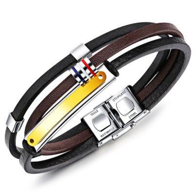 Gravírozható, barna-fekete bőr karkötő, színes fémdísszel