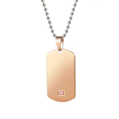 Gravírozható, rózsaarany színű nemesacél medál -  40*22 mm - rózsaszín kővel