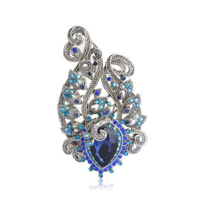 Vintage - kristályos ékszerbross - kék