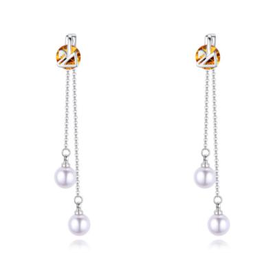 Perle Olor - borostyán -  Swarovski kristályos fülbevaló