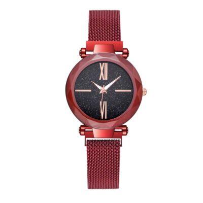 Stardust - hátlapon gravírozható csodaszép, mágneses kapcsolódású női karóra - piros