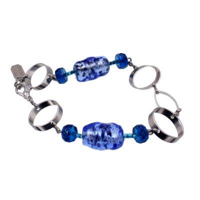 Lucy - Muránói üveg karkötő - kék 2.