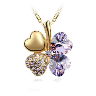 Arany szerencse - halványlila - Swarovski kristályos - Medál