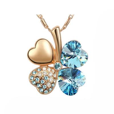 Arany szerencse - világoskék - Swarovski kristályos nyaklánc