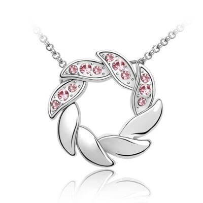 Sziromkarika - rózsaszín - Swarovski kristályos - Medál