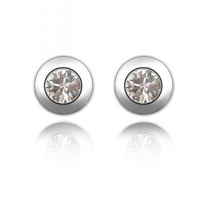 Apró kör-fehér - Swarovski kristályos - Fülbevaló
