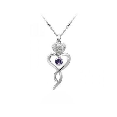 Kanyargó szív - Swarovski kristályos nyaklánc - lila