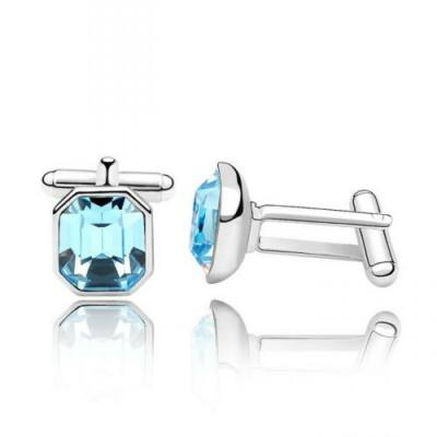Szögletes mandzsettagomb - világoskék - Swarovski kristályos