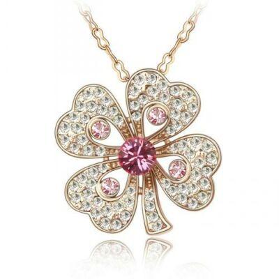 Arany lóhere - Swarovski kristályos nyaklánc, fehér, rózsaszín