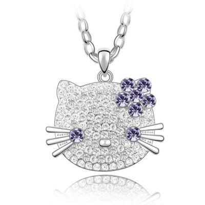 Hello Kitty - Swarovski kristályos nyakék - lila