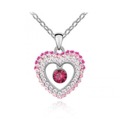 Kőszív-rózsaszín - Swarovski kristályos - Medál
