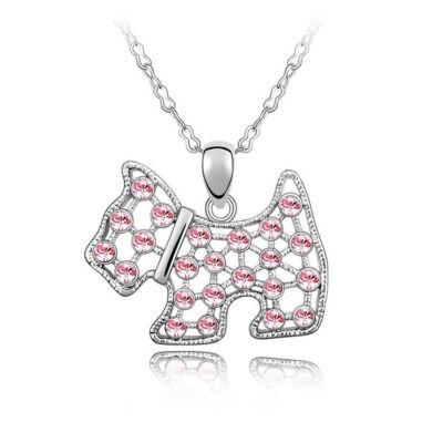 Csillogó kutyus - ezüst, rózsaszín - Swarovski kristályos - Medál