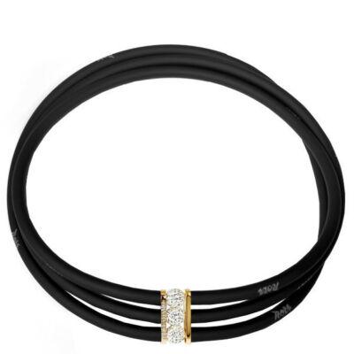 Toobe - 3 soros, Swarovski kristályos szilikon-bronz nyakék- Fekete