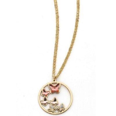 Boccadamo Jewels - Swarovski kristályos bronz nyakék - Rózsaszín pillangók