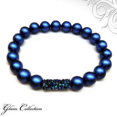 Swarovski gyöngy karkötő - Crystal Tube Bermuda Blue dísszel