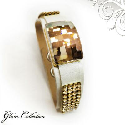 4 kősoros bőr karkötő sakktábla csiszolású kristállyal - Swarovski kristályos - Golden shadow