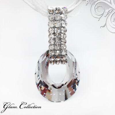 3 kősoros organza szalagos nyakék- Crystal - Swarovski kristályos - Medál