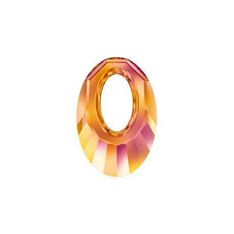 Helios Swarovski medál - vastag vagy vékony nyaklánccal - Astral Pink - narancs