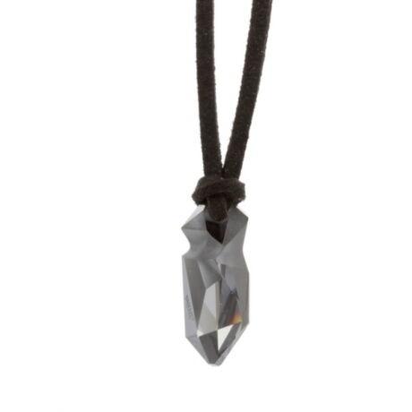 """""""Kaputt pendant"""" -Swarovski medál bőrkötélen- Silver Night - ezüst"""