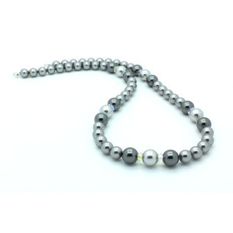Swarovski gyöngy és kristály nyaklánc - Light Grey, Grey, Dark Grey - ezüst