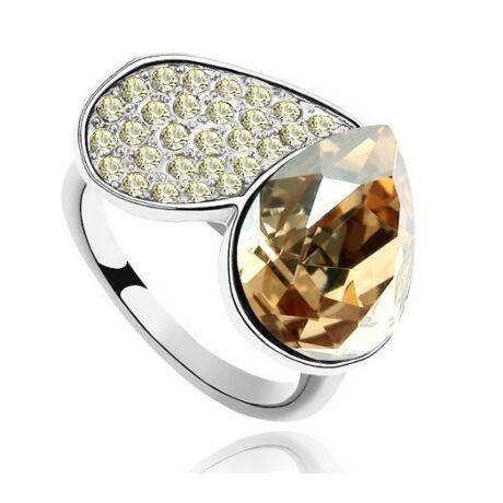Szív gyűrű- borostyán - Swarovski kristályos