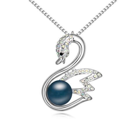 Hattyú és gyöngy- Swarovski kristályos - Medál- kék