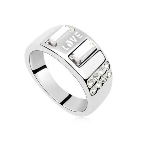 Érzés - fehér -  Swarovski kristályos-gyűrű