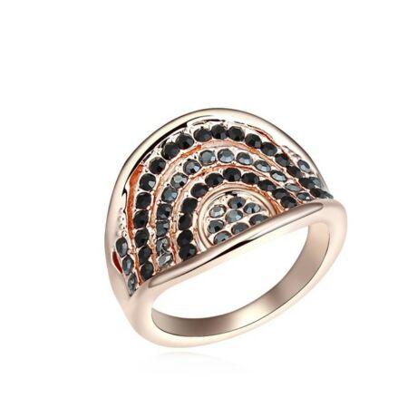 Gothika -fekete-szürke - Swarovski kristályos gyűrű