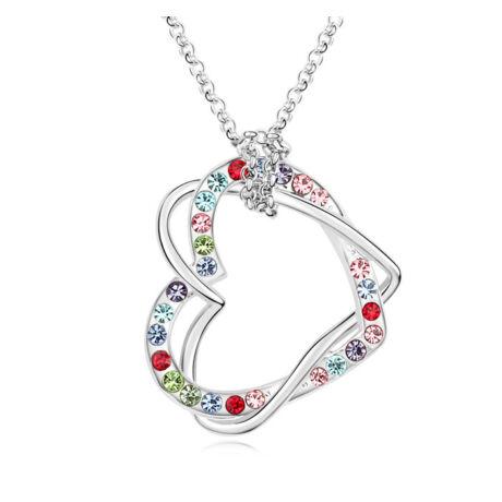 Szívcsavar-színes-Swarovski kristályos nyaklánc