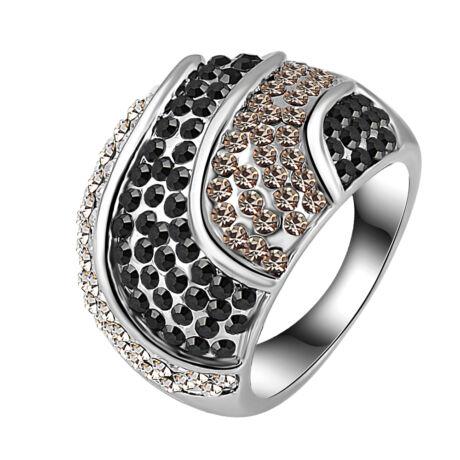 Mámor -  Swarovski kristályos divatgyűrű - fekete