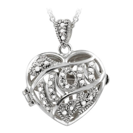 Anyai szív - ezüst - valódi gyémánttal ékesített nyakék - fehér