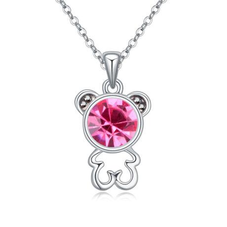 Mackó- rózsaszín-Swarovski kristályos - Nyaklánc