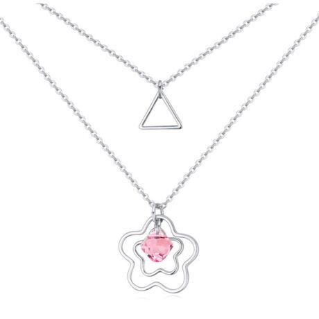 Dupla soros Oltalom- rózsaszín-Swarovski kristályos - nyaklánc