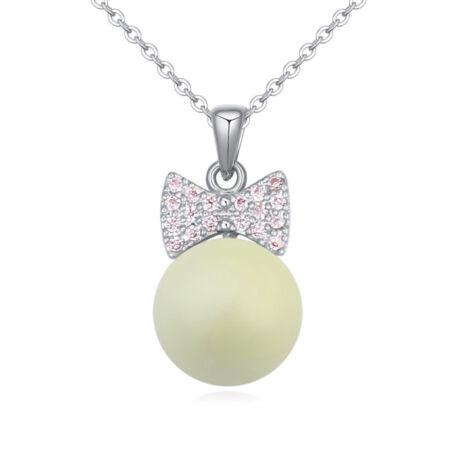 Ajándék  gyöngy- zöldes-Swarovski kristályos - nyaklánc