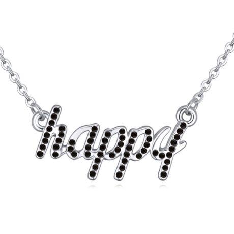 Boldogság gyere haza...' - fekete- Swarovski kristályos-nyaklánc