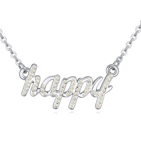 Boldogság gyere haza...' - színjátszófehér- Swarovski kristályos-nyaklánc