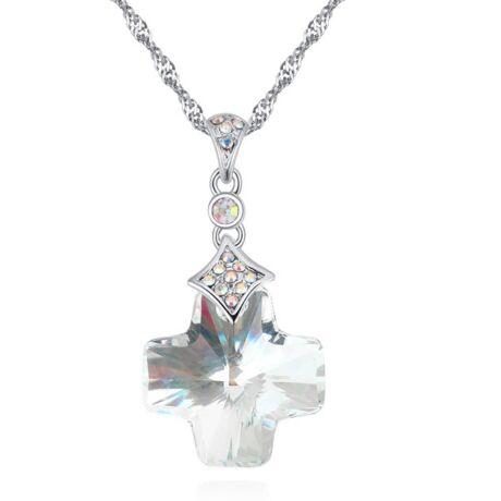 Kereszt - fehér- Swarovski kristályos nyaklánc