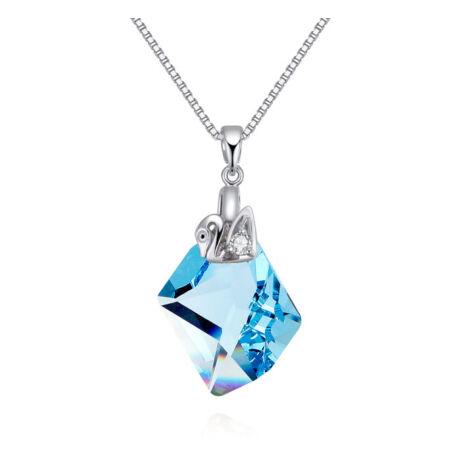 Hattyúk tava- kék- Swarovski kristályos nyaklánc