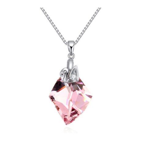 Hattyúk tava- rózsaszín- Swarovski kristályos nyaklánc