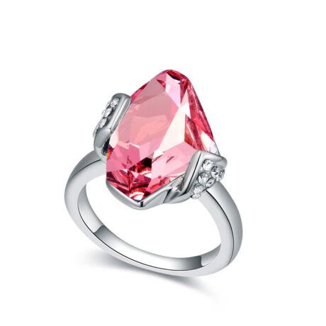 Stone - rózsaszín-Swarovski kristályos-gyűrű